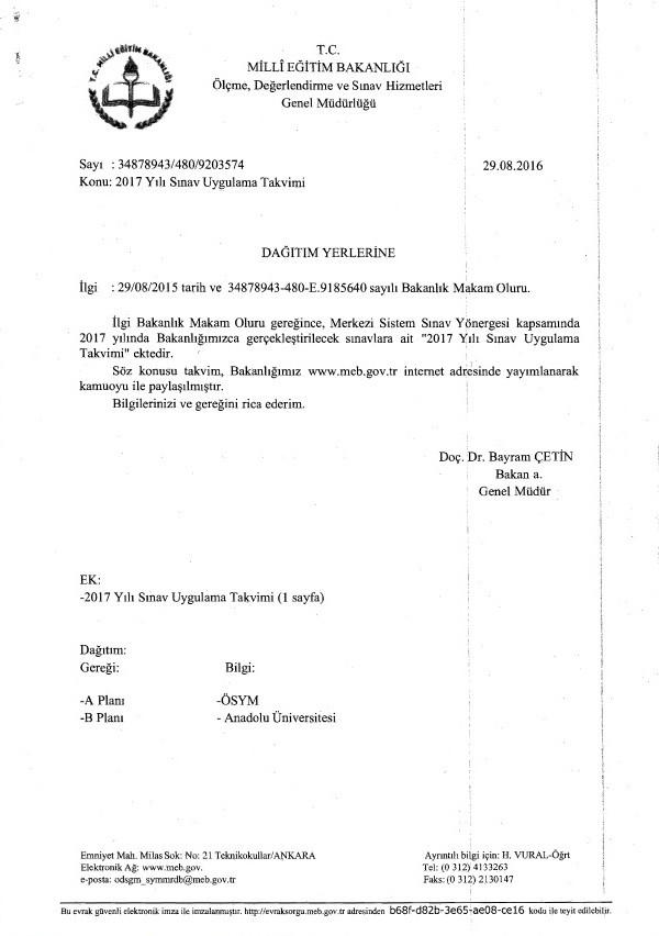 meb 2017 sınav takvimi
